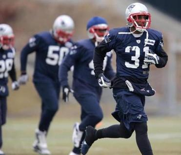 Aqib Talib (31) has taken a leading role with the younger defensive backs for the Patriots.